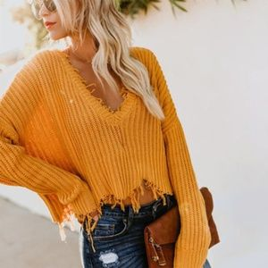 Tainted Love Distressed Sweater Mustard Sm VICI